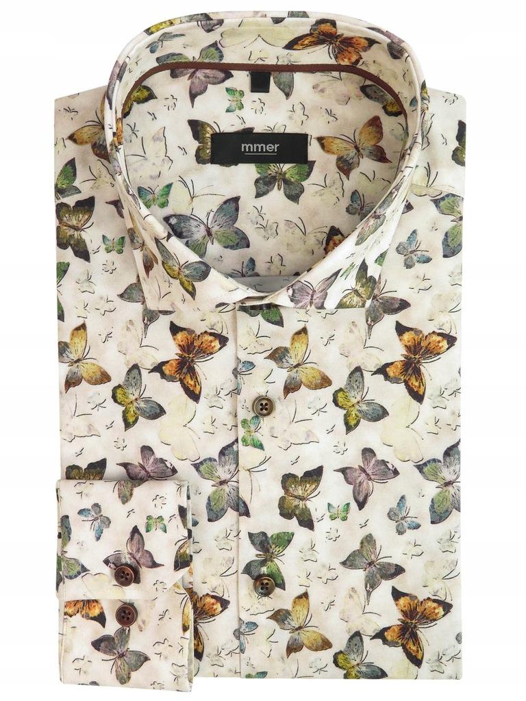 Beżowa koszula w motyle 940 176 182 42 Slim 8626029127  b2CLq