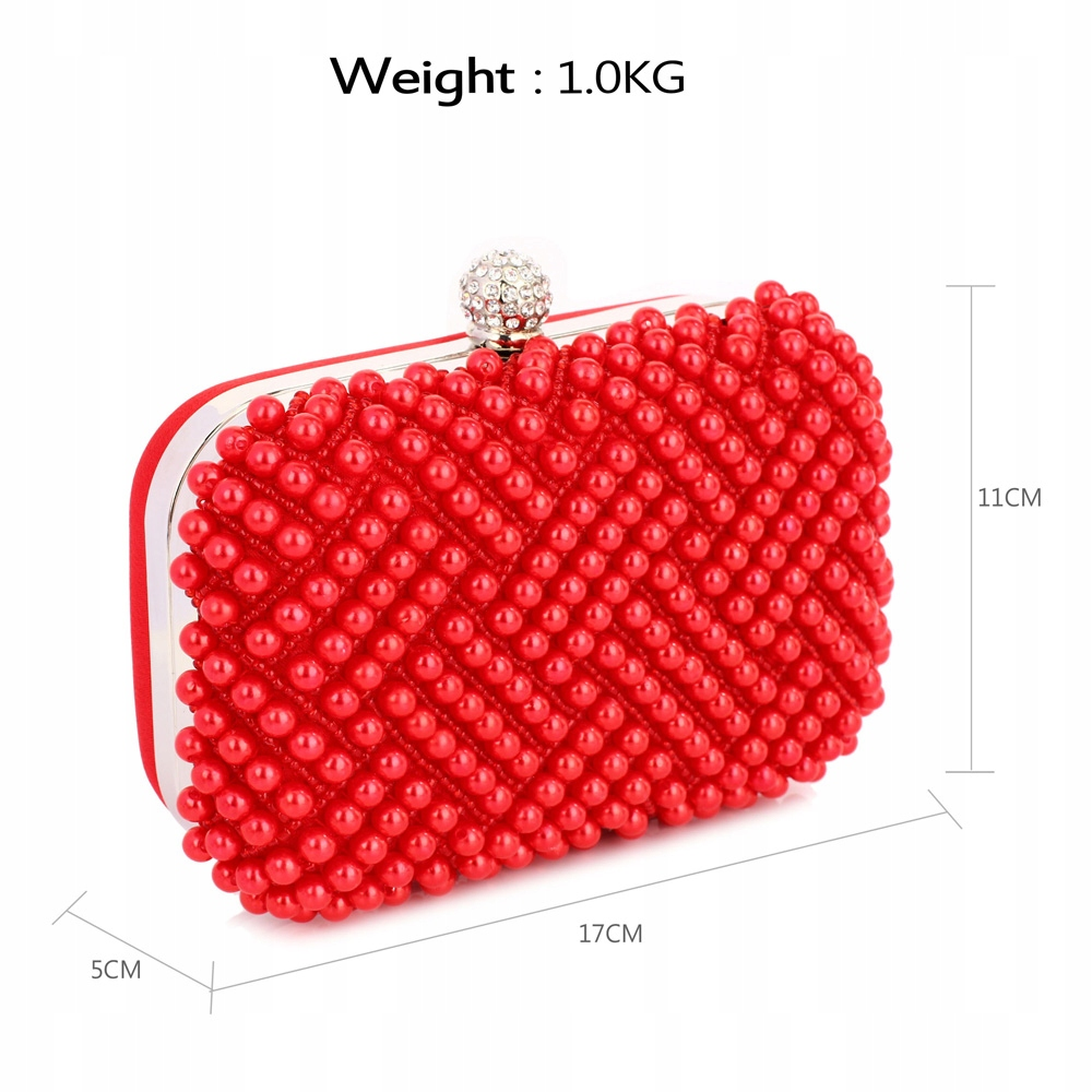 Elegancka torebka wizytowa puzderko perełki czerwona