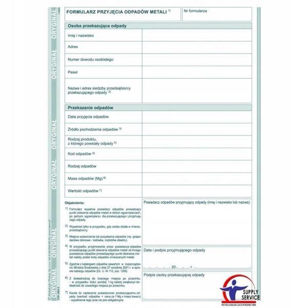 Druk formularz przyjęcia odpadów metali A5 E-03-3