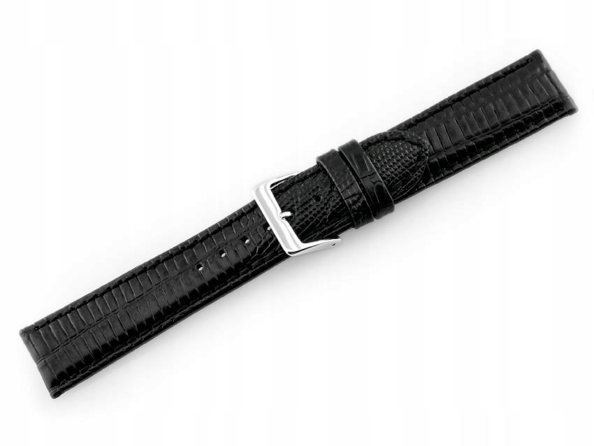 Pasek skórzany do zegarka W08 - PREMIUM - czarny -