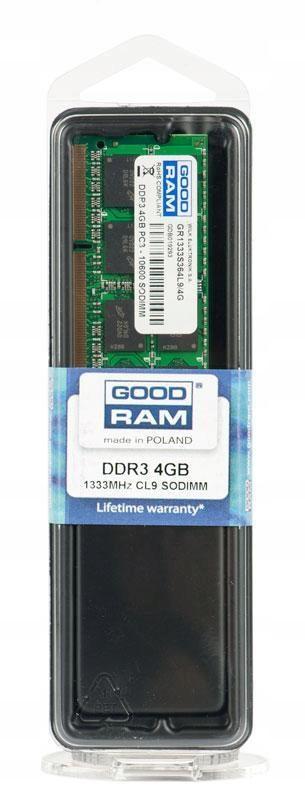 Pamięć DDR3 GOODRAM SODIMM 4GB/1333MHz PC3-10600