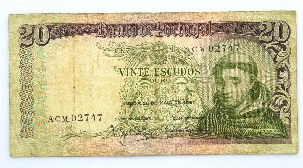 BANKNOT - Portugalia - 20 Escudos 1964