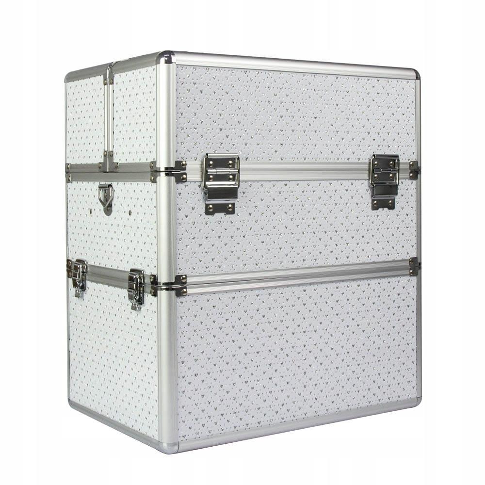 Kuferek kosmetyczny dwuczęściowy - Serca Biały