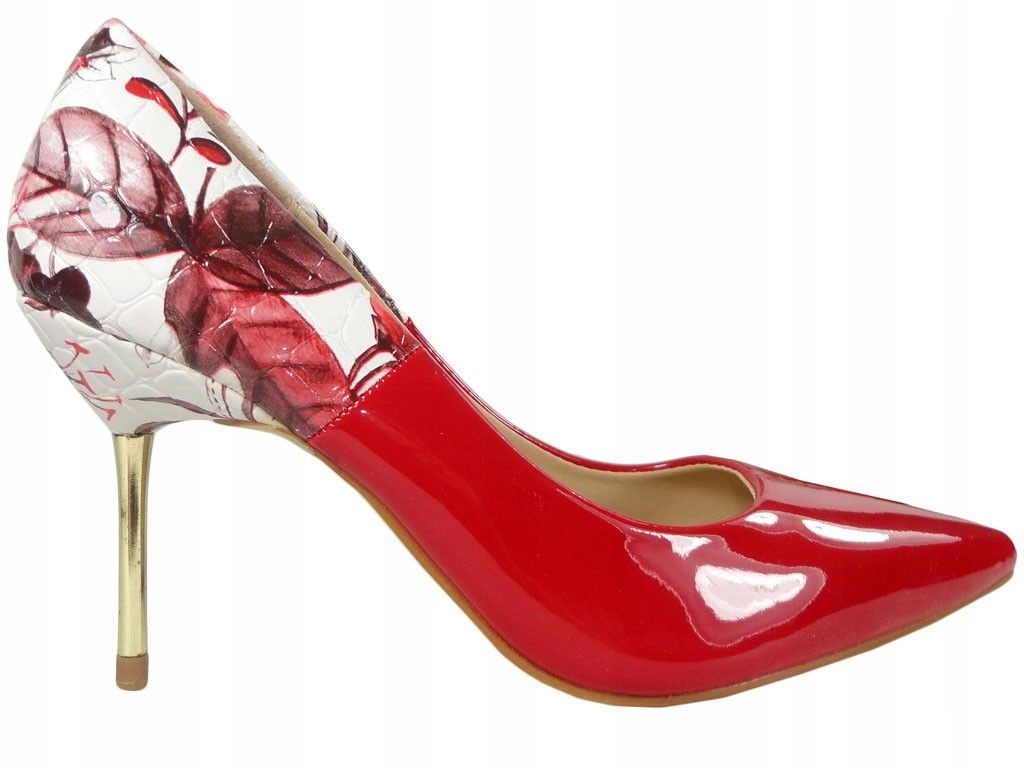 Czerwone szpilki z kwiatami buty damskie 36
