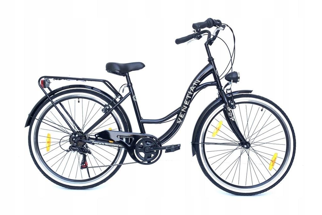Solidny Damski Rower Miejski Czarne 6Bieg 4XGratis