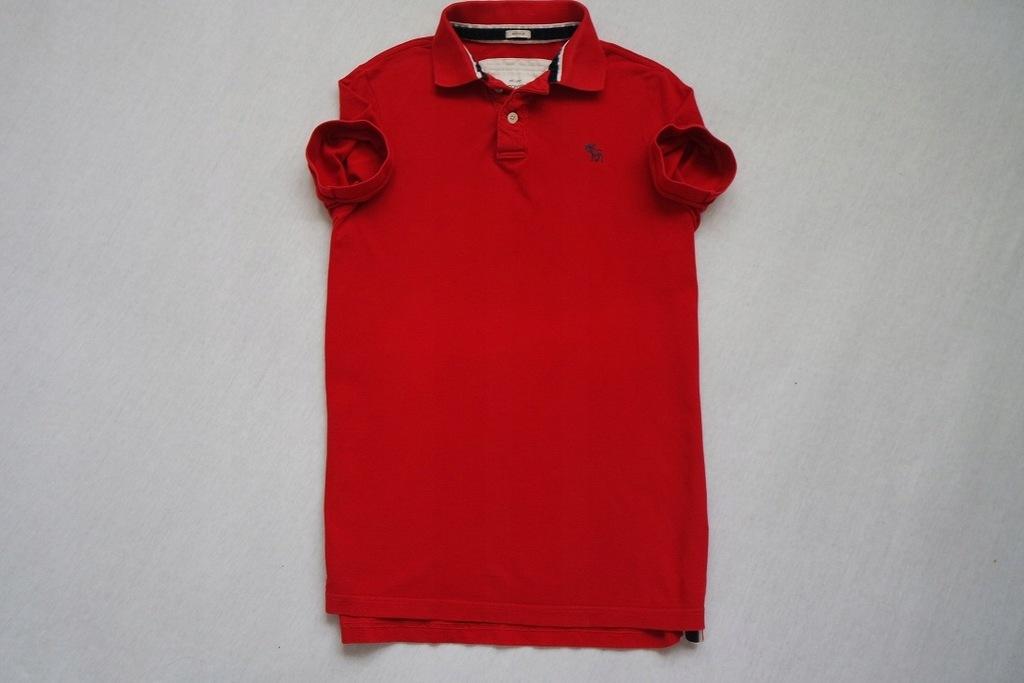 ABRECROMBIE FITCH koszulka polo czerwona logo___XL