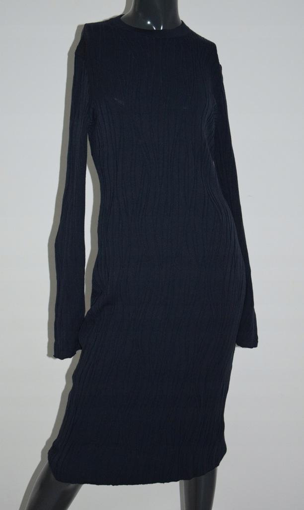 cos granatowa dzianinowa sukienka wiskoza M/38