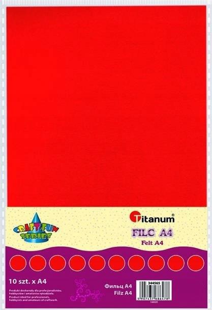 Filc dekoracyjny, 10ark format A4 czerw, CRAFT-FUN