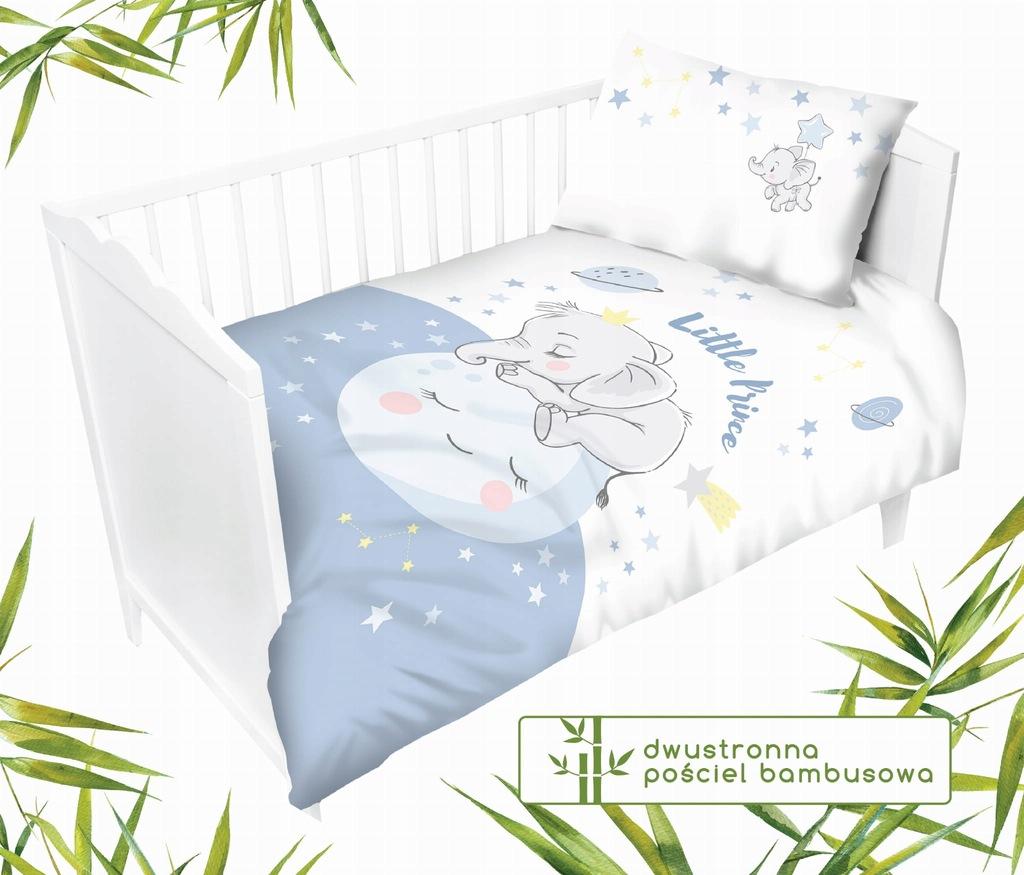 Dziecięca pościel bambusowa do łóżeczka Słonik