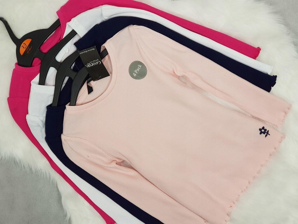 GEORGE 4Pack Nowe bluzki Prążkowane Kolorki 98 cm