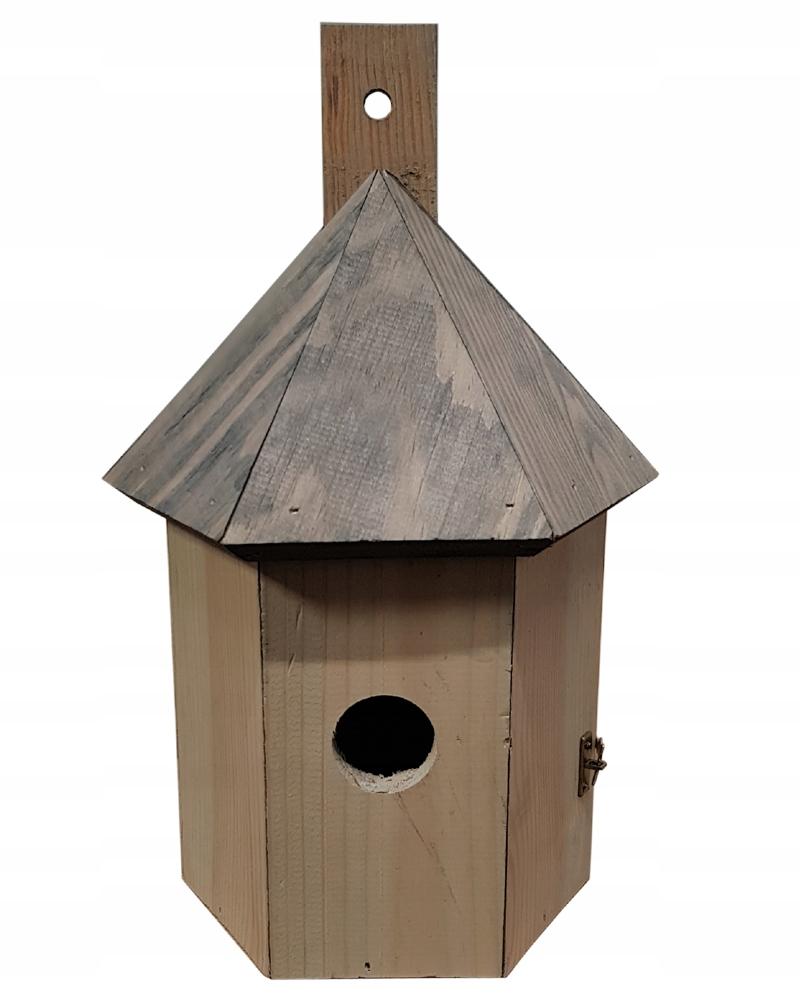 Budka lęgowa dla ptaków, karmnik, domek - szara