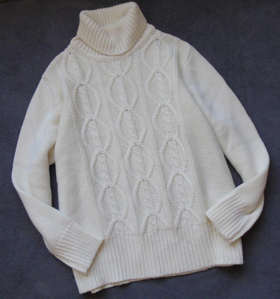 sweter C&A golf pleciony 42/44 ecru