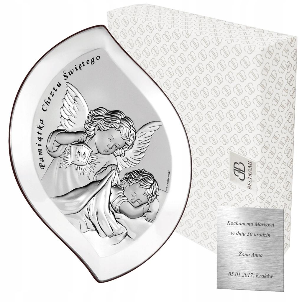 Obrazek srebrny Aniołek nad dzieciątkiem Pamiątka
