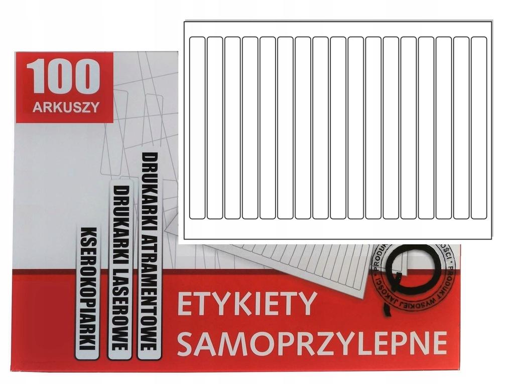 Arkusze A4 etykiety samoprzylepne 176x15mm/100 szt