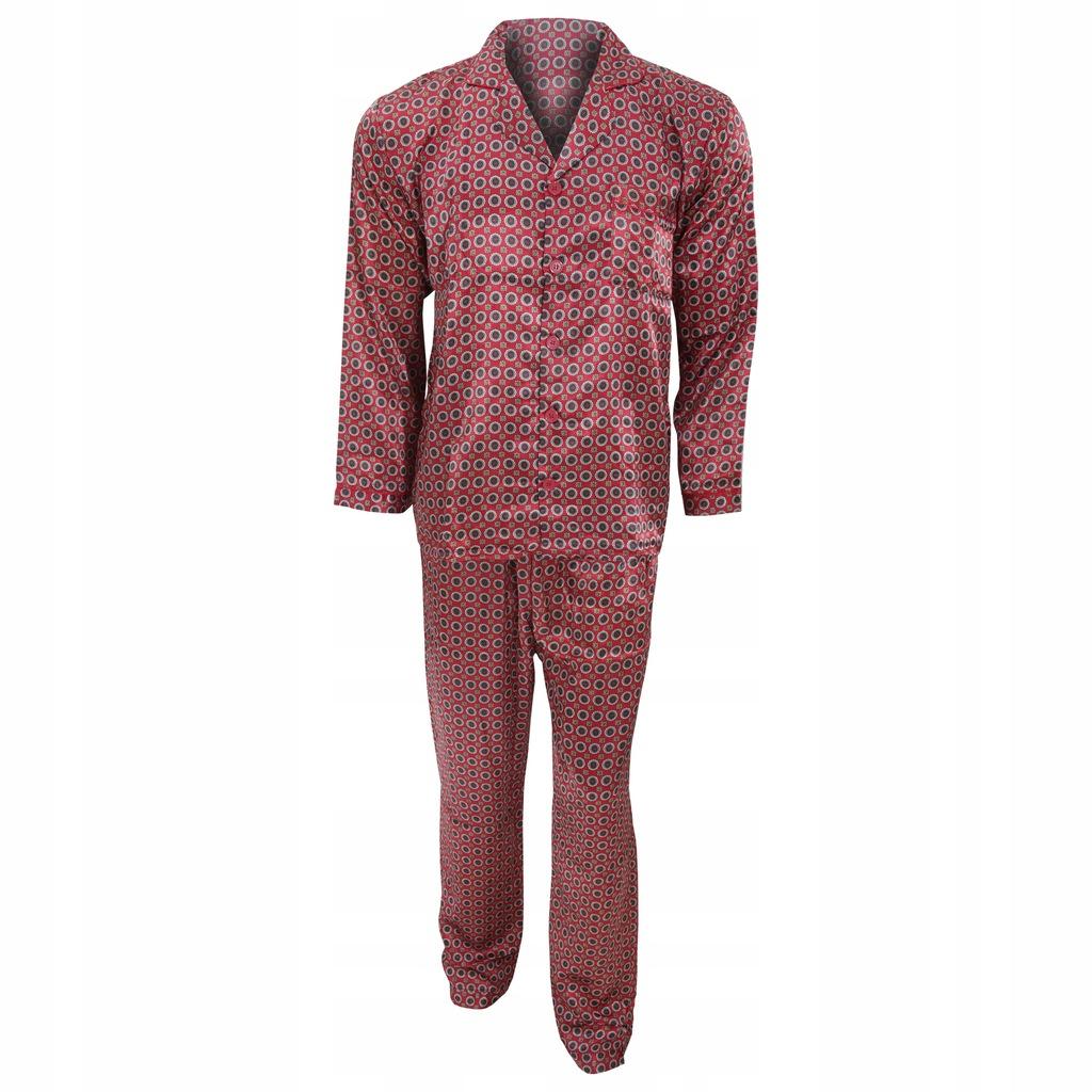 Tradycyjna męska satynowa piżama XXL Czerwony