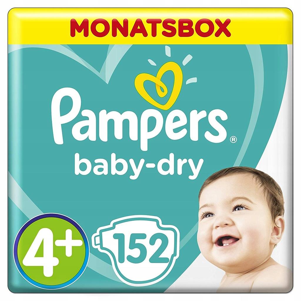 PAMPERS Pieluchy Baby Dry 4+ waga 10-15kg 152szt