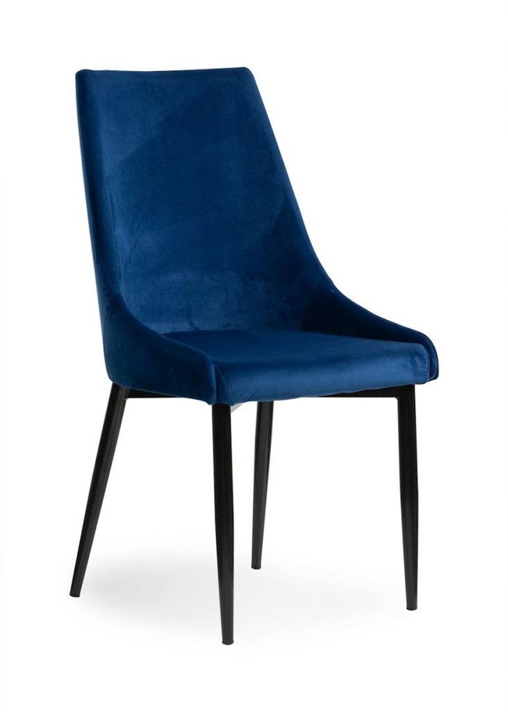 Krzesło LUIS VELVET niebieski/ noga czarna