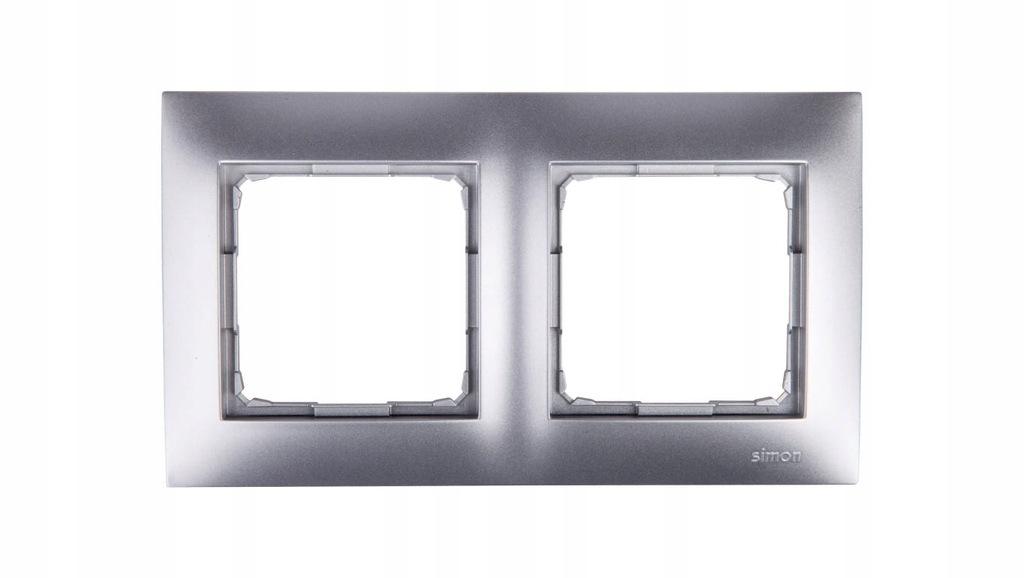 Simon 54 Premium Ramka podwójna srebrny mat /do ka