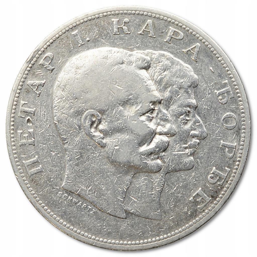 21.SERBIA, 5 DINARÓW 1904 100 L.DYNASTII rzadka