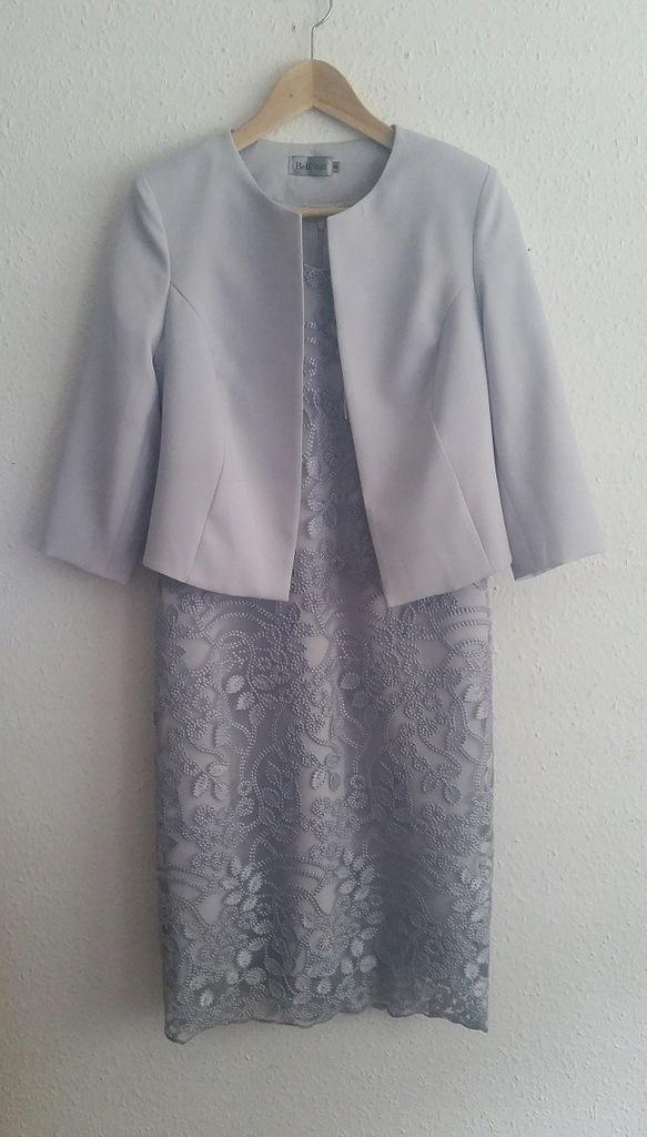 Nowy Gołąbkowy Komplet Sukienka Żakiet, Bellezza