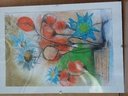 Obraz pastelowy przedstawiający kwiaty