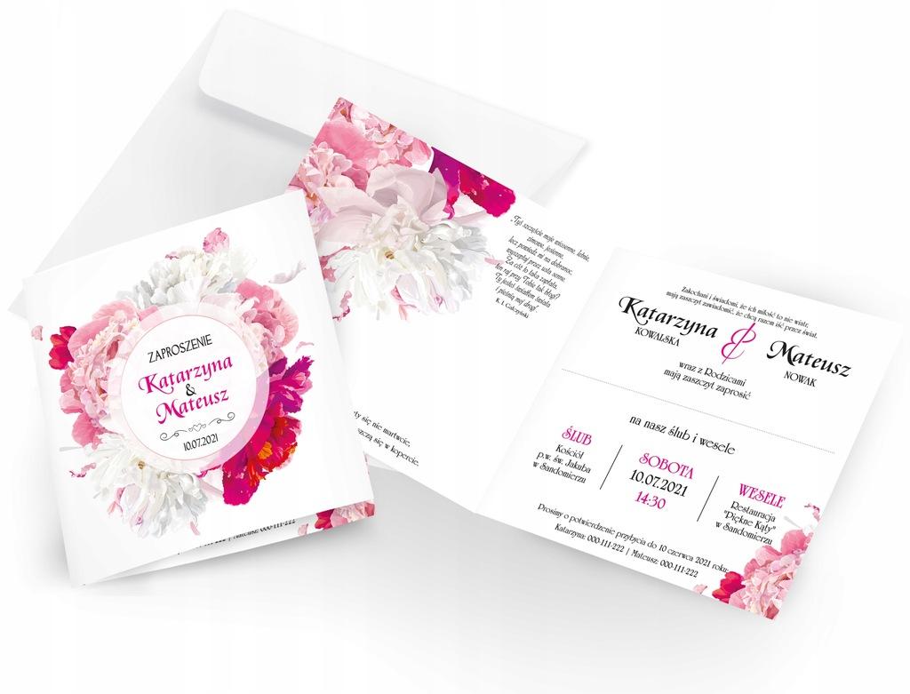 Zaproszenia Ślubne z kopertą 10 sztuk - WZORY