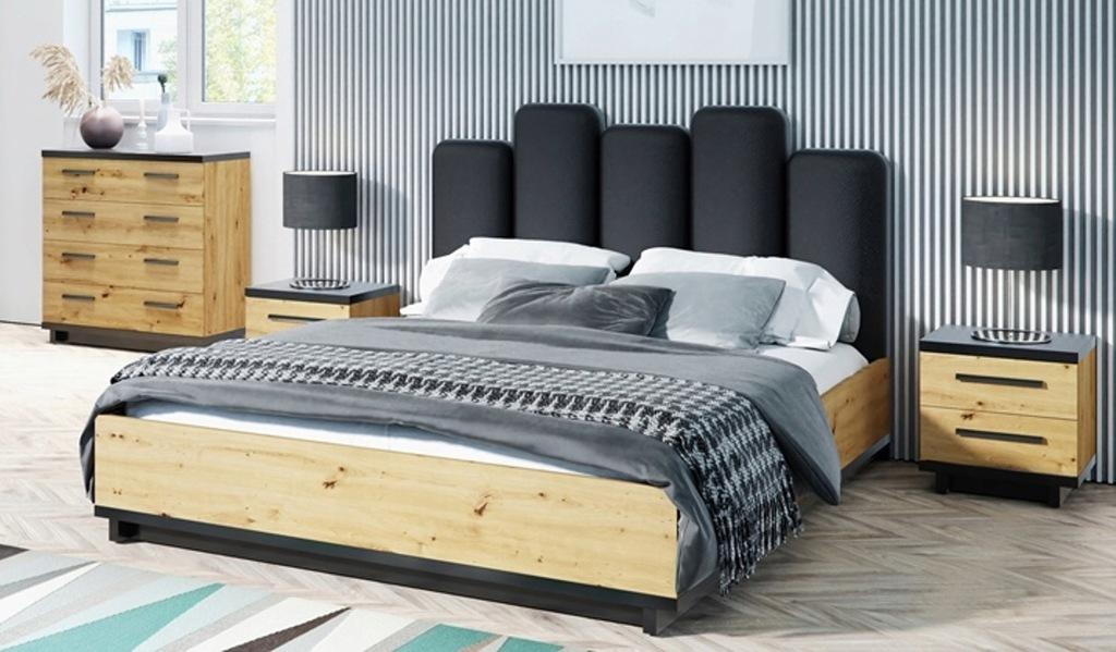 Sypialnia INES 2 stylowe meble dąb + czarny mat