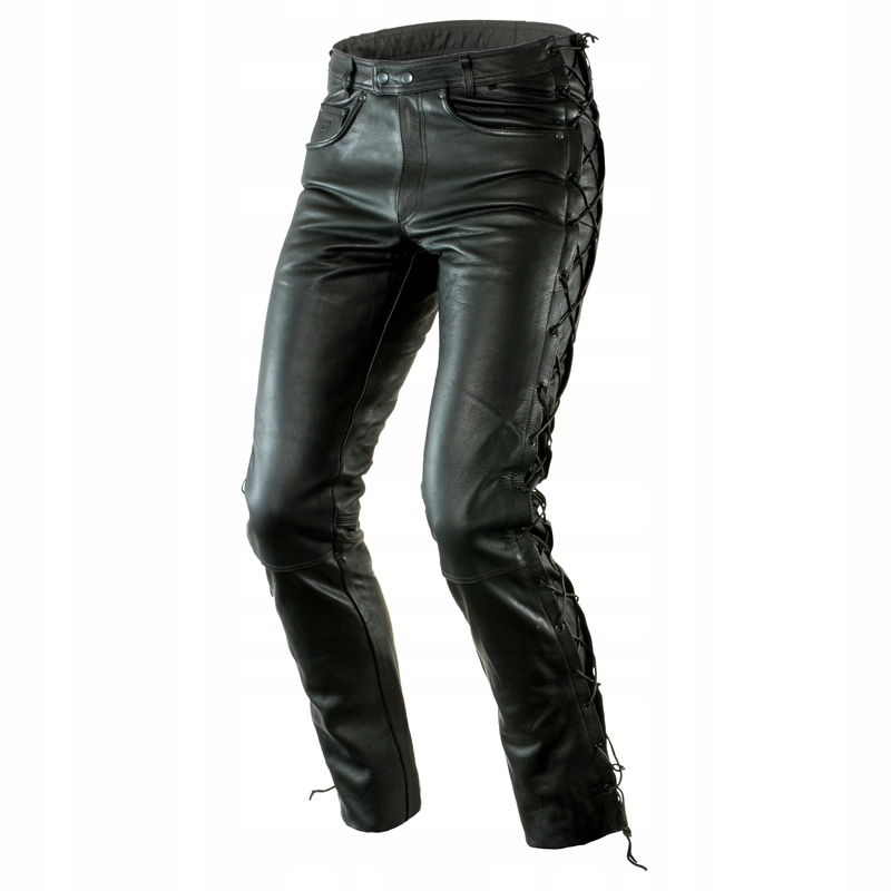 Spodnie skórzane SZNUROWANE jak JEANS na moto L