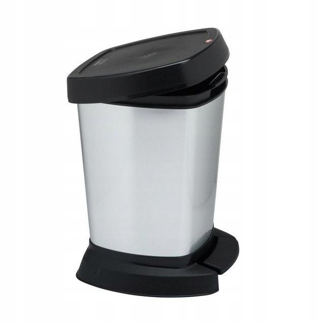 Kosz na śmieci łazienkowy srebrny 6L na pedał pokr