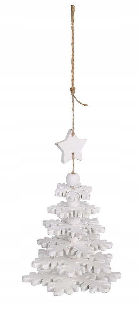 Biała dekoracyjna zawieszka świąteczna choinka 12x