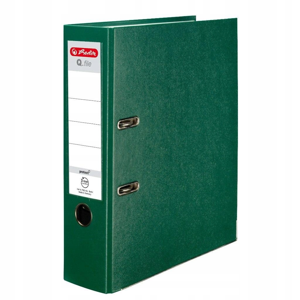 Segregator A4 8cm PP zielony Q file