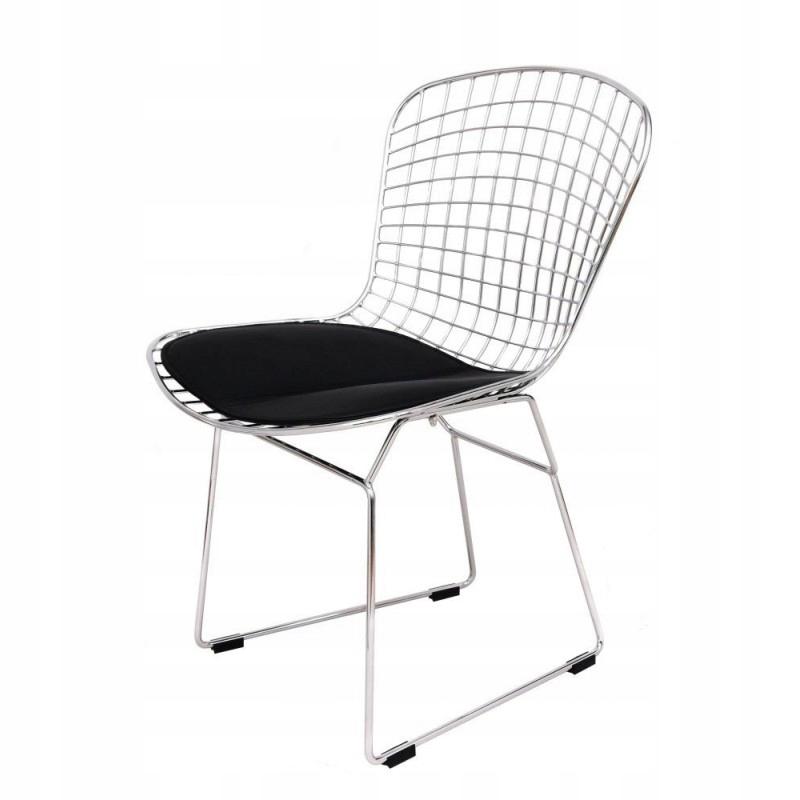 Krzesło Mesh chrom z czarną poduszką
