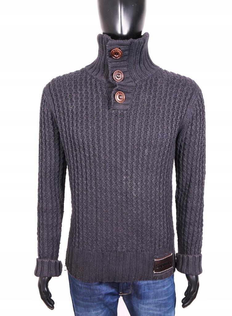 *Superdry Sweter Męski Gruby Golf Szary roz L