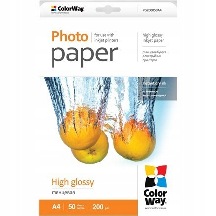 ColorWay High Glossy Photo Paper, 50 sheets, A4, 2