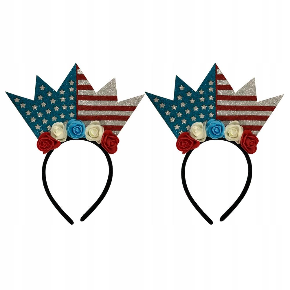 2szt Brokat Amerykańska flaga obręcz do włosów Kre