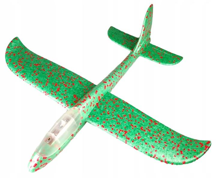 Szybowiec Samolot Styropianowy 8LED zielony 48x47c