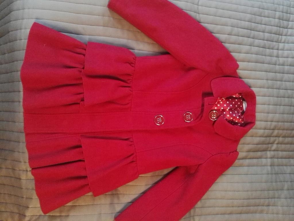 Czerwony płaszcz płaszczyk George 104/110