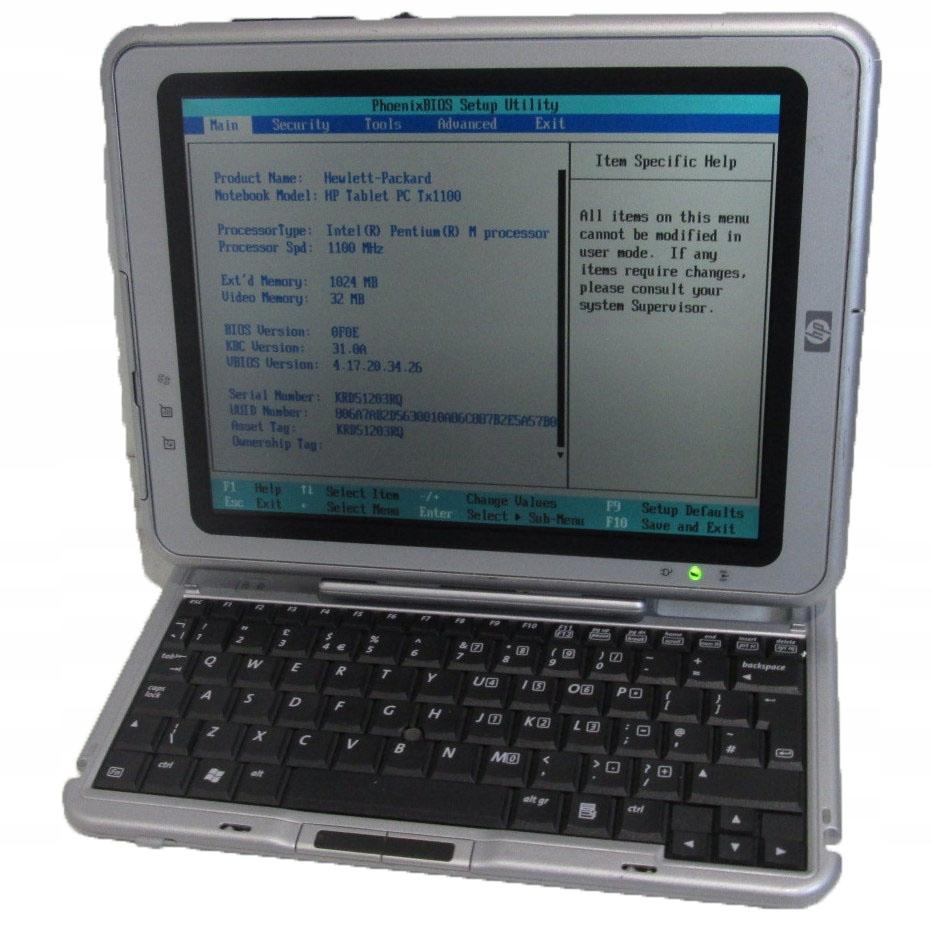 Tablet klaw. HP COMPAQ TC1100 brak hdd _3360