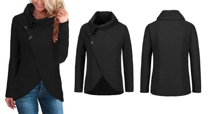 Sweter Damski Z Golfem Guziki Bawełna Czarny XL