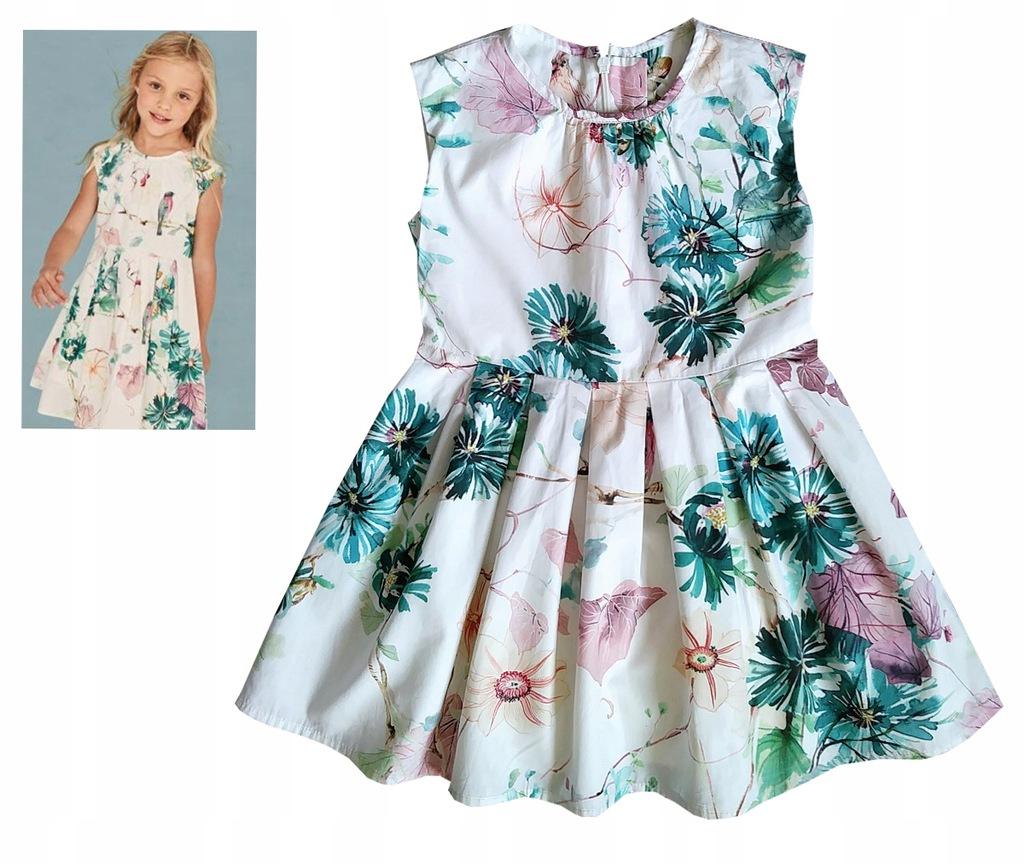 NEXT sukienka ptaszki kwiaty 4 lata 104
