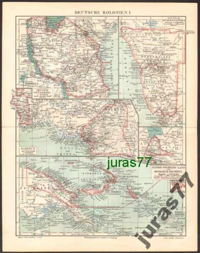 AFRYKA NIEMIECKIE KOLONIE mapa z 1897 roku