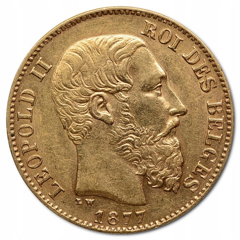25.BELGIA, LEOPOLD II, 20 FRANKÓW 1877