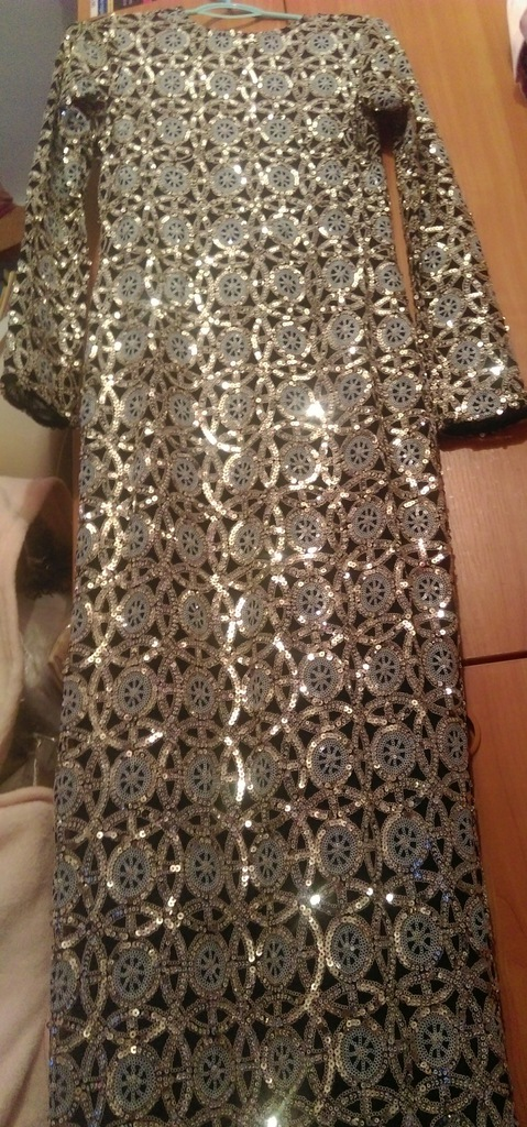 (EUR 38) RIVER ISLAND/Cekinowa maxi długa sukienka