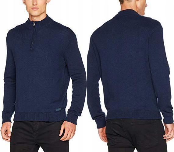 PEPE JEANS Granatowy sweter stójka zamek (XXL)