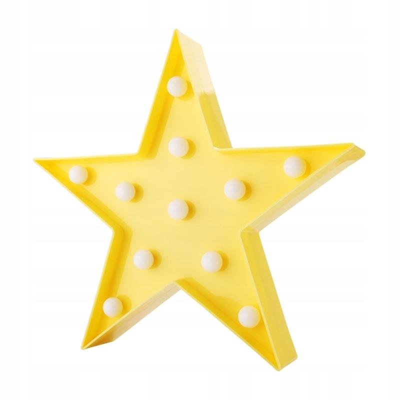 Lampka Dekoracyjna LED Gwiazda żółta