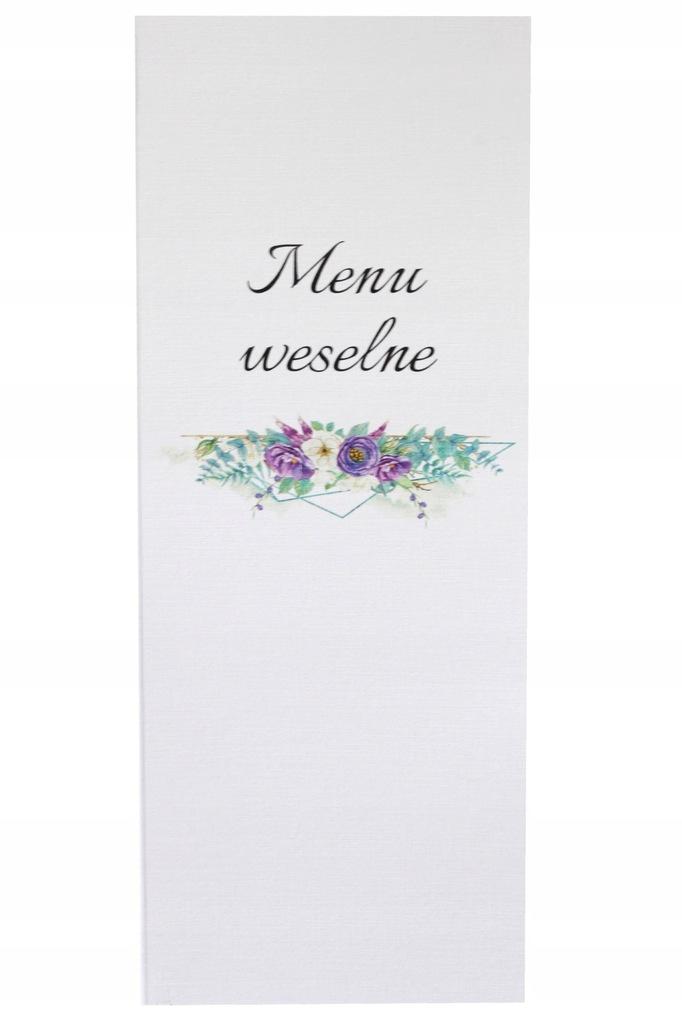 Menu na ślub ślubne weselne Wesele Rocznica Kwiaty
