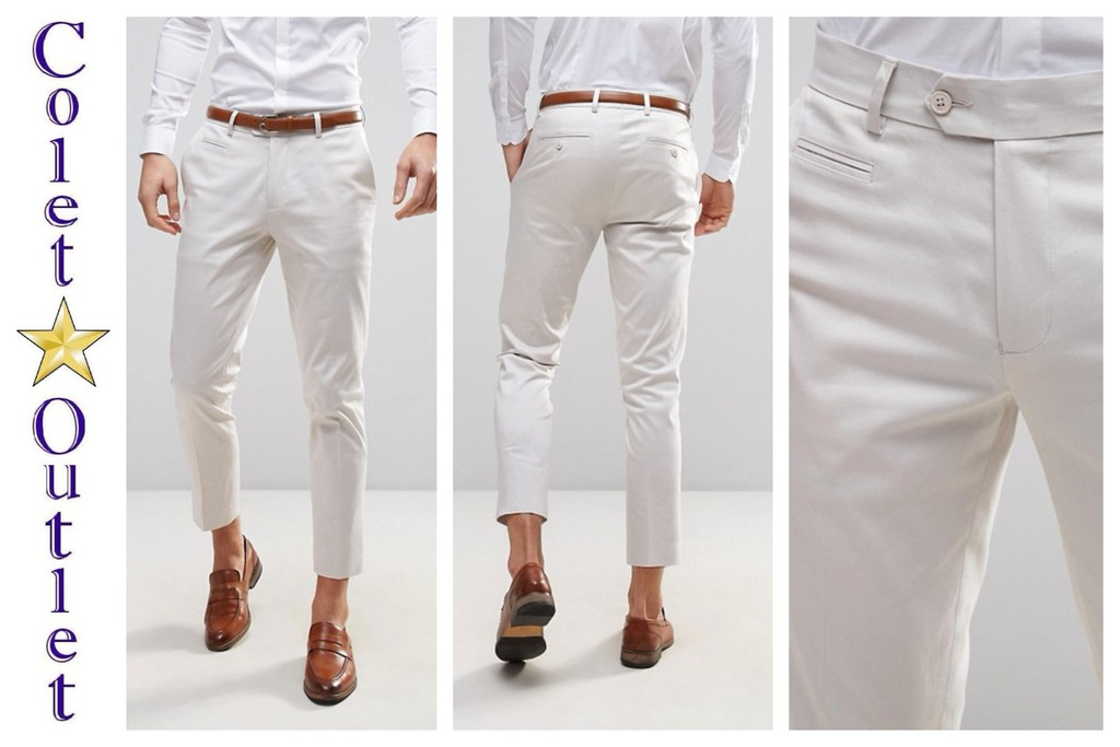 mp58 spodnie kremowe eleganckie skinny W36 L32