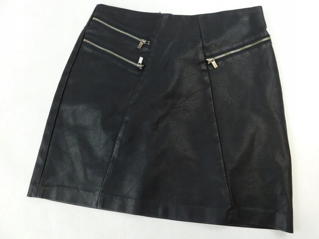 2210e8 NEW LOOK spódnica CZARNA skaja ZAMKI S