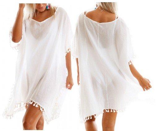 Biała tunika plażowa letnia Plus Size BOHO 42 48