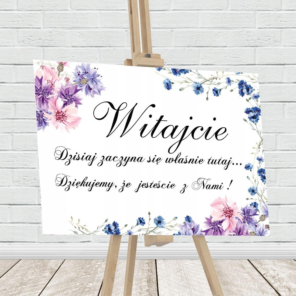 Tablica powitalna, motyw kwiatowy,fiolet,niebieski